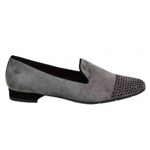 Evaluna 4221 loafer taupe met strass steentjes