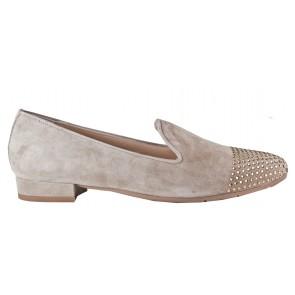 Evaluna 4221 beige/taupe suède loafer met strass steentjes