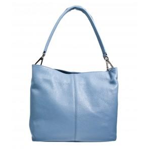 Leren tas licht blauw met 3 vakken