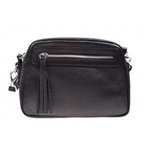 Chantal 1993 zwart crossover leren tas met voorvak