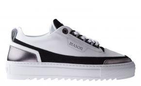 Mason Garments Firenze10A Leather/Glitter/Metallic White/Black/Gunmetal sneaker