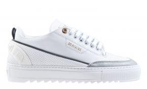 Mason Garments Torino 17C Leather/Stamp/Reflective White/White/Cement Sneaker.