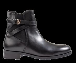 Tommy Hilfiger Hardware Belt Flat Boot zwart enkellaars