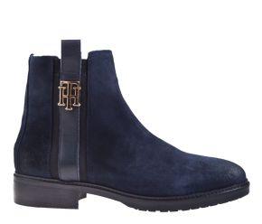Tommy Hilfiger Interlock suède Flat Boot blauw enkellaars