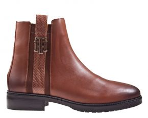 Tommy Hilfiger Interlock leather flat boot cognac enkellaars
