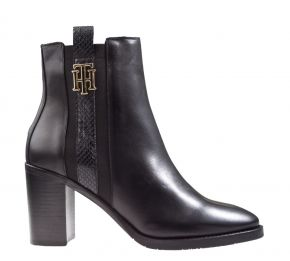 Tommy Hilfiger Interlock High Heel Boot zwart enkellaars