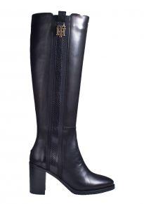 Tommy Hilfiger Interlock High Heel Long Boot zwart laars