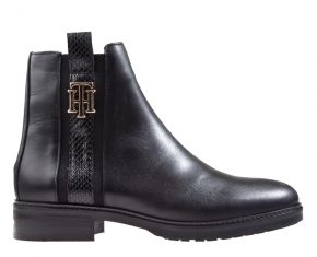 Tommy Hilfiger Interlock leather flat boot zwart enkellaars