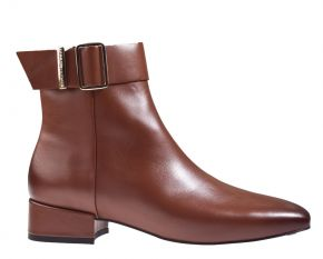Tommy Hilfiger Leather Square Toe Mid Heel Boot cognac enkellaars