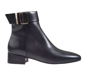 Tommy Hilfiger Leather Square Toe Mid Heel Boot zwart enkellaars