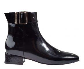 Tommy Hilfiger Patent Square Toe Mid Heel Boot zwart lak enkellaars