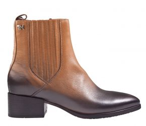 Tommy Hilfiger schaded-leather flat boot cognac enkellaars