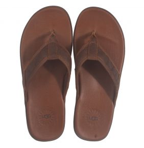 UGG Seaside Flip Leather cognac slipper